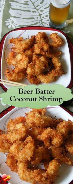 Batter Coconut Shrimp Delicious and crispy beer batter coconut shrimp recipe. Get more local style shrimp recipes here.Delicious and crispy beer batter coconut shrimp recipe. Get more local style shrimp recipes here. Beer Recipes, Fish Recipes, Seafood Recipes, Cooking Recipes, Healthy Recipes, Recipies, Vegetarian Recipes, Shrimp Dishes, Fish Dishes