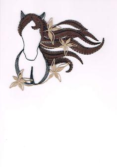 Kůň, - paličkovaná krajka, bobbin lace, autor: Lenka Maslova Spetlova, Hostinné, Atelier ROS ZEFYRA s.r.o.