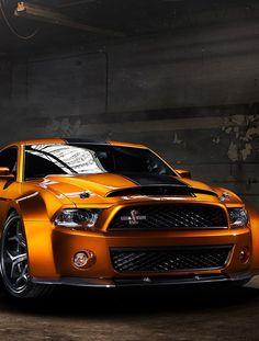 Wow Orange newer Ford Mustang  Black racing stripe