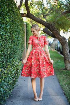 kneelength red floral dress