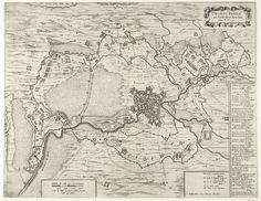 Anonymous | Kaart van het beleg van Breda, 1624, Anonymous, Hendrick Hondius, 1647 - 1651 | Kaart van het beleg van Breda door het Spaanse leger onder Spinola, 27 augustus 1624 tot 5 juni 1625. Met de omsingeling van de stad en alle forten van de belegerende troepen en de legerplaatsen. Met verschillende cartouches, rechts de legenda 1-48 in het Frans. Op een dubbelblad zoals gebruikt in het Stedenboek van Blaeu, maar onbedrukt op achterzijde.