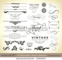 calligraphic design elements and page decoration/ vector set: by Merfin, via ShutterStock