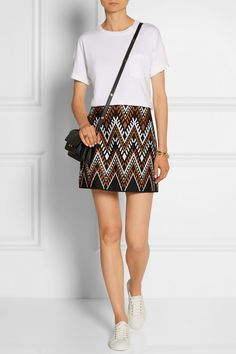 DKNY | Embroidered cotton-blend mini skirt | NET-A-PORTER.COM