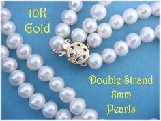 @@ FREE SHIPPING WITHIN USA @@   Akoya - 10K Gold Genuine Round Akoya White Pearl Necklace. This Sweet Necklace from an Sedona Arizona Estate
