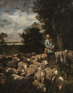 Charles Émile Jacque - Shepherd with Flock of Sheep - Sold for $22,420 at Brunk Auctions