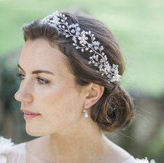 floral pearl and crystal garland tiara