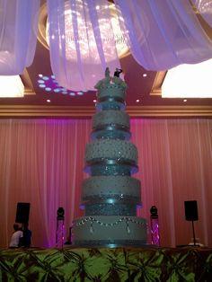 Cake Studio Bavaro - Punta Cana Weddings - very tall, crystals wedding cake