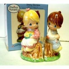 """Precious Moments Adorable Salt/Pepper Set by Precious Moments. $11.99. Exclusive Collection Series Collectable. Both Statue Shakers Stand at 5.5 inches tal. Precious Moments Simply Adorable Ceramic Salt/Pepper Set. Size- each piece is 5.5"""" tall. Housewares. Kitchen Storage. Salt & Pepper Shakers."""