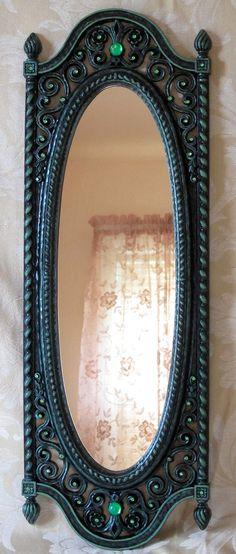 Vintage Syroco Dart Jewelled Mirror Black Mint Green Ornate Retro Gothic