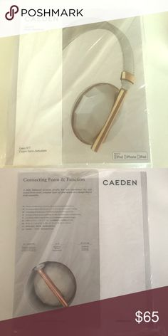 Caeden white rose gold headphones A noise isolating and fully balanced sound profile lets you feel the thumping bass, without losing the crisp vocals, mids and high tones of every track. Beautiful white leather and faceted ceramic and rose gold. Caeden Accessories