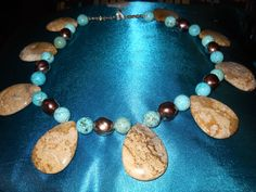 Making a Statement: Jasper, Turquoise Howlite and Czech Glass Necklace $35.00
