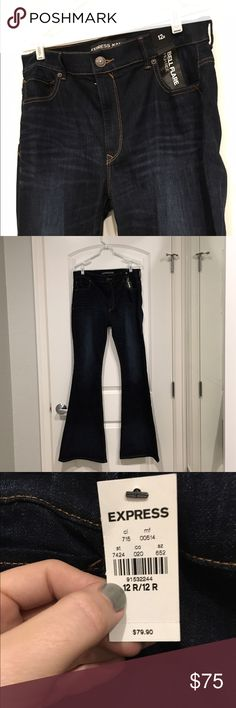 EXPRESS dark bell flare high rise jeans Soft and stretchy, flattering high rise jeans with flared bottoms. Labeled as 12R but fit like a 12 long (in my opinion). Please make me a reasonable offer! No trades! Express Jeans Flare & Wide Leg
