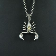 FLUER DE LIS SCORPION 925 STERLING SILVER Men's Women's BIKER ROCKER PENDANT