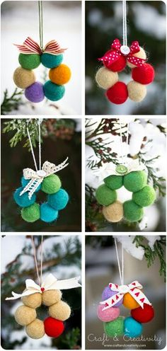 Felt ball wreath ornaments
