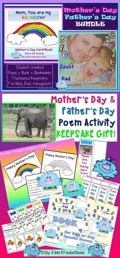 Mother's and Father's Day GIFT BUNDLE Have students create a beautiful KEEPSAKE for Mom, Dad, Caregiver or Any Special Person. *Poem Activity *Card *Book *Bookmarks GIFT SET! Matching Gift Packs for Mother's Day and Father's Day. Great Value!$ Fathers Day Poems, Mother Poems, Fathers Day Gifts, Brain Based Learning, Social Emotional Learning, Classroom Games, Classroom Management, Book Activities, Holiday Activities