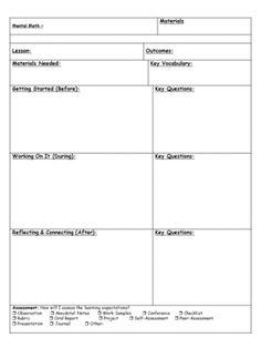 3 part math lesson template product from primary flynn on for Singapore math lesson plan template