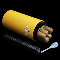 COHIBA Yellow Leather Cedar Cigar Jar Tube Holder W/Humidifier and Hygrometer #COHIBA