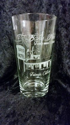 Alfred Hitchcock's Psycho, Bates Motel Inspired Etched glass Family owned and operated Inspired Etched Pint glass Bates Motel Horror Movie