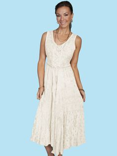 Scully® Ivory Embroidered Sleeveless Lace-Up Western Dress