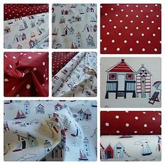 Beach-Huts-amp-Boats-Fabric-amp-Matching-Dotty-Red-Fabric-100-Cotton-Ex-Wide