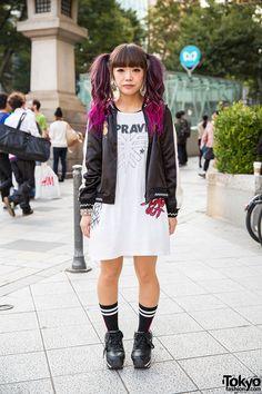 Dip Dye Twin Tails, Candy Stripper Satin Jacket & Jouetie in Harajuku / vía @tokyofashion