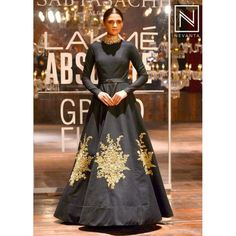 Black Gold Zari Embroidered Net Indo Western Gowns Gw600 Gowns