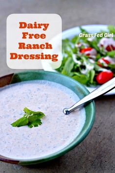 Dairy Free Ranch Dressing Recipe (Paleo, Low Carb, Gluten Free) Grass Fed Girl- minus the mustard Dairy Free Recipes, Whole Food Recipes, Cooking Recipes, Healthy Recipes, Chef Recipes, Cooking Tips, Paleo Ranch Dressing, Sem Lactose, Lactose Free
