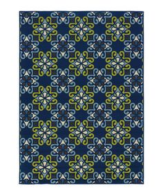 Look what I found on #zulily! Blue & Gold Geometric Hyrcania Indoor/Outdoor Rug #zulilyfinds