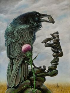 SOOOOOO LOVE THIS!!! Raven is building it's Cairn/Obos, one stone at a time.....and the Thistle represents Pain, Protection and Pride....plus it's the Scottish Flower Emblem...!!! :) by Konstantin Korobov