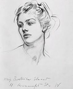 """Beatrice Stuart"" by John Singer Sargent. Charcoal Drawing"