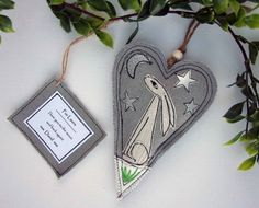 Hare Fabric Ornament I Love You to the Moon and Back by SwinkyDoo