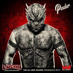 A cold blooded warrior has arrived to the Temple. Watch Pindar on Wednesdays at ET on Lucha Underground, Blue Demon, Wrestling Posters, Wwe Wrestlers, Ufc, Superstar, Joker, Batman, Superhero