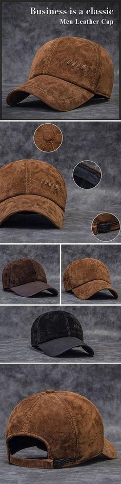 Men Genuine Leather Baseball Cap Casual Outdoor Sun Hat Adjustable  Breathable Flat Top Cap is designer 1ac88c3815b7