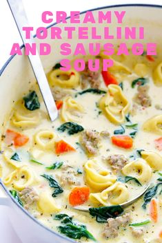 This Creamy Tortellini and Sausage Soup is quick and easy to make, full of great flavor, and so rich and creamy and comforting. Best Soup Recipes, Best Italian Recipes, Favorite Recipes, Healthy Recipes, Italian Sausage Soup, Italian Soup, Fun Cooking, Cooking Recipes, Meal Recipes