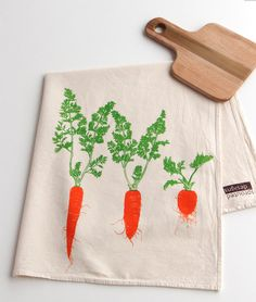 Flour Sack Towel  Carrot Trio  Hand Screen by SproutedDesigns, $12.00