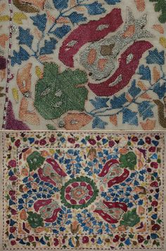 Antique Ottoman Cushion Covers Embroidery. Silk Embroidery with silver thread on Linen. Ottoman Dynasty 1453-1922A.D. Oh gosh, i'm in love with this site!