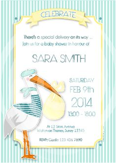 Stork Baby Shower in Pink or Blue party printables supply shop