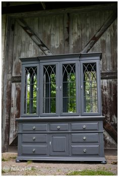 This hutch is painted with Benjamin Moore's Wescott Navy which is a slate grey. Metal Patio Furniture, Couch Furniture, Repurposed Furniture, Shabby Chic Furniture, Pallet Furniture, Furniture Projects, Painted Furniture, Refinished Furniture, Painted Hutch