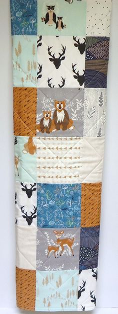 Rustic Baby Quilt-Modern Woodland Baby Boy Crib Bedding-Hello Bear-Deer-Fox Baby Blanket-Art Gallery Fabrics-Gray-Mint-Teal-Navy-Arrows
