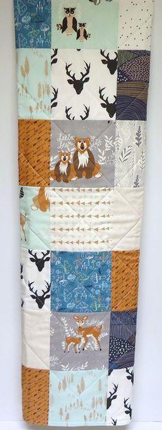 Fabric-Gray-Mint-Teal-Navy-Arrows rustique bébé couette-Woodland bébé garçon lit literie-Hello ours Quilt-cerf-renard bébé couverture-Galerie d