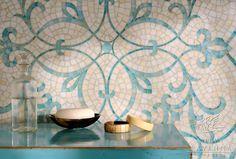 Glass mosaic shown in Aquamarine and Quartz.
