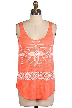 Orange Aztec days of summer tee -- Rhinestones N Rodeo, Syracuse, KS--www.shop.rhinestonesNrodeo.com