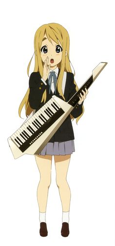 Mugi. Sweet and friendly, she is loved by everyone. She is usually the peace-maker among the band members.