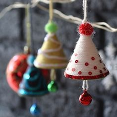 Make Christmas Tree Ornaments with mini cone Styrofoam...I had a student make one out of a cone of cardstock.  I still hang it on the tree.  What a cute idea to add the jingle bell!