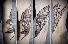 Geometric bird tattoo