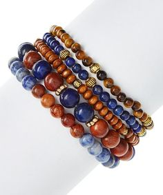 Loving this Lapis Lazuli & Wood Beaded Stretch Bracelet Set on #zulily! #zulilyfinds