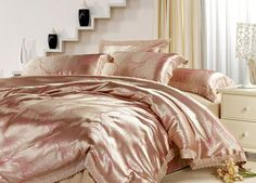 Satin bedding sets - What could be more luxurious and indulgent satin bedding? Satin bedding is soft and silky and turns any bed Pink And Gold Bedding, Gold Bedding Sets, Mens Bedding Sets, Satin Bedding, Cheap Bedding Sets, Queen Bedding Sets, Comforter Sets, Luxury Bedding, Gold Comforter