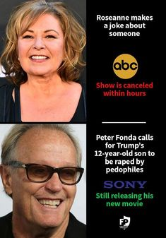 Rosanne is a trump supporter, Fonda a liberal. treated different? Liberal Hypocrisy, Liberal Logic, Abc Shows, Double Standards, Out Of Touch, Political Views, Way Of Life, Thought Provoking, Food For Thought