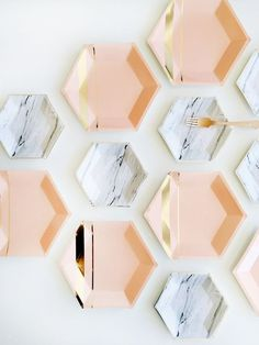 Marble Print + Blush Gold Party Paper Plates.
