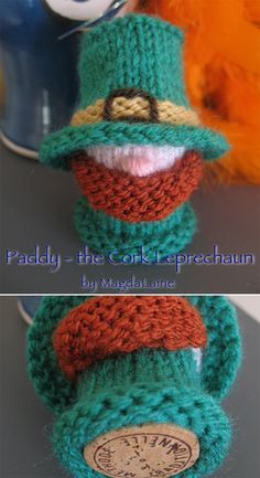 """Free Knitting Pattern for Paddy - the Cork Leprechaun - Little leprechaun knit flat and gets his shape from a champagne cork. About 7cm/2.75"""" tall. Designed by MagdaLaine"""